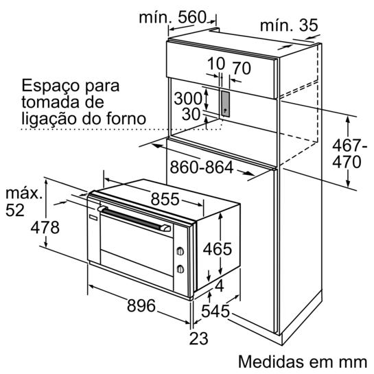 Forno integr vel 90 cm iq500 hv531ans0 siemens for Medidas de hornos pequenos