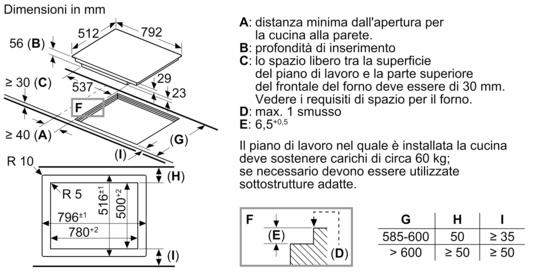 Montaggio a filo top piano cottura ad induzione 80 cm for Piano cottura induzione bosch pia611b68j istruzioni