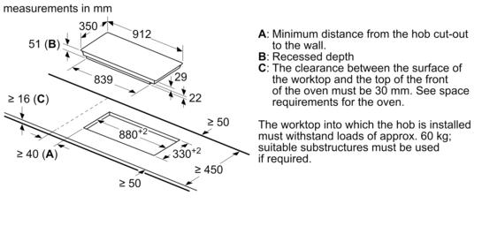 electronic display 90 cm domino flex induction hob