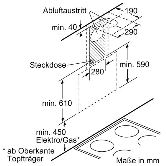 Dunstabzugshaube Montagehöhe schwarz mit glasschirm 80 cm wand esse iq500 lc86ka670 siemens