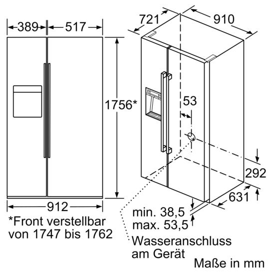 kühl gefrier kombination side by side türen schwarz iq700