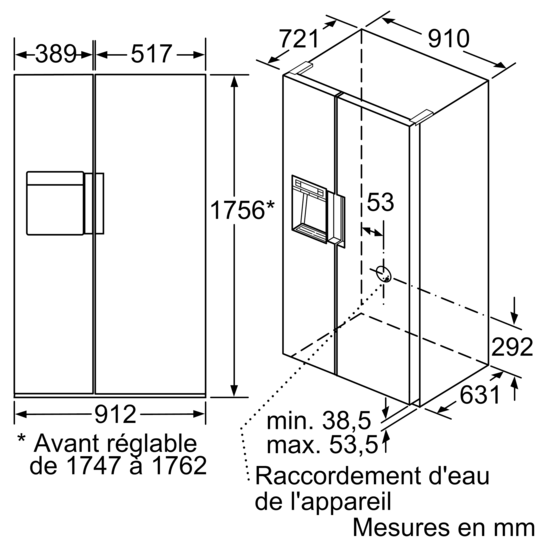dessins cots with taille frigo americain. Black Bedroom Furniture Sets. Home Design Ideas