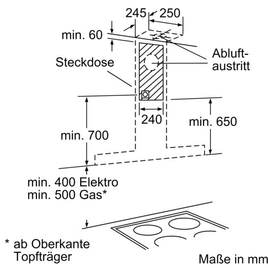 Dunstabzugshaube Montagehöhe edelstahl 60 cm wand esse iq500 lc68kd542 siemens