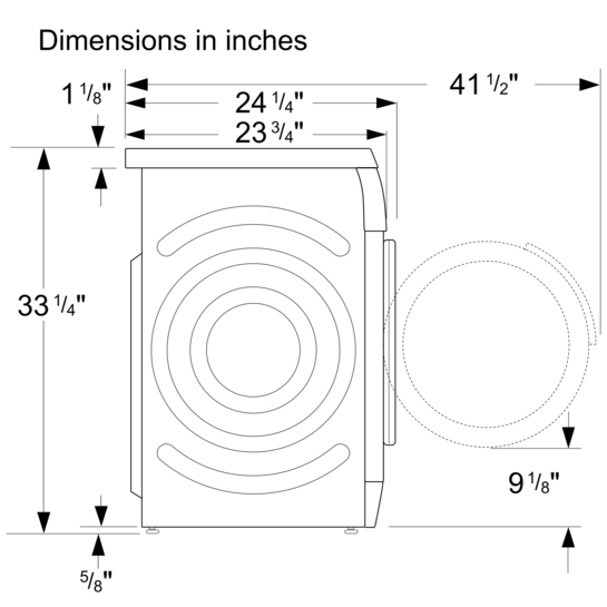 washing machine dimensions inches