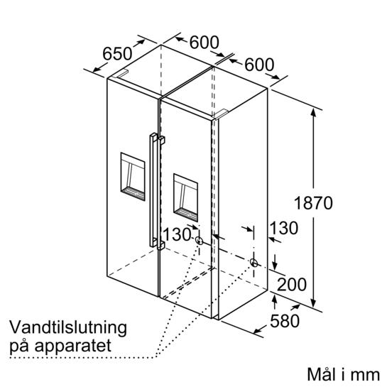 Line Drawing Ks : Fryseskab cm integreret is dispenser iq