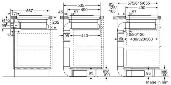 kochstelle mit integriertem dunstabzug 80 cm induktions. Black Bedroom Furniture Sets. Home Design Ideas