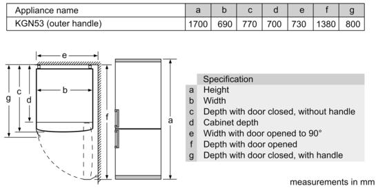 products cooling bottom mount fridge freezers kgn53aw30a. Black Bedroom Furniture Sets. Home Design Ideas