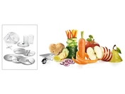 The lifestyle package VeggieLove with continuous shredder incl. three standard disks, additional Asian vegetable disc and potato pankace-Rösti disc disc for delightful vegetarian dishes
