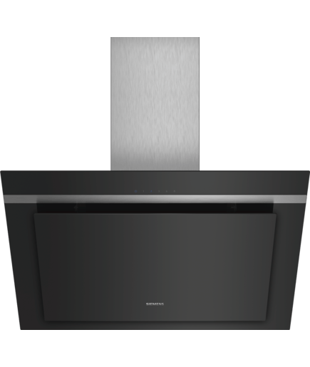 Chimney hood 80 cm inclined glass brand design iq300 for Transparent glass wall