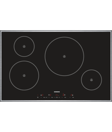 extra wide touch control induction hob eh845tl11e black glass with stainless steel trim. Black Bedroom Furniture Sets. Home Design Ideas