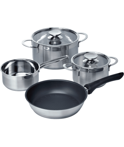 set of 3 pots 1 pan for induction hob hz390041 siemens. Black Bedroom Furniture Sets. Home Design Ideas