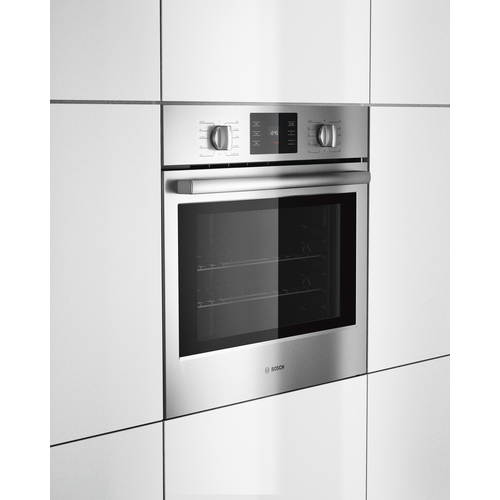 introducing a newly designed and engineered bosch wall oven featuring european convection and heavyduty metal knobs