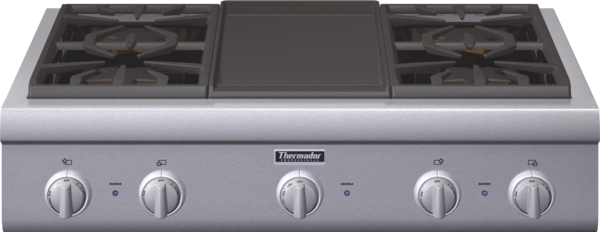 Thermador Gas Cooktop With Downdraft: 36 Inch Professional Series Rangetop PCG364GD