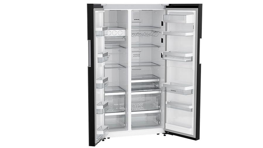 American Fridge Freezer Glass Black Door And Chrome Inox Metallic
