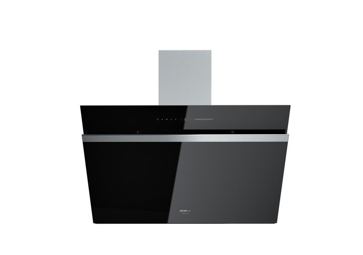 iQ700 Chimney hood, 90 cm Inclined glass brand design black with glass canopy LC91KWW60S-1