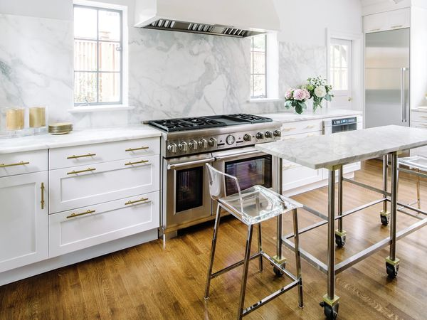 48 Inch Range White Marble Clear Chairs Kitchen
