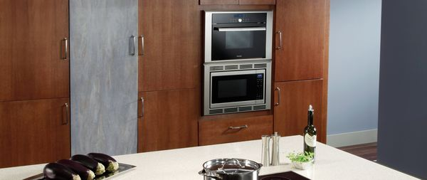 Thermador Convection Microwave Ovens Island Kitchen With Brown