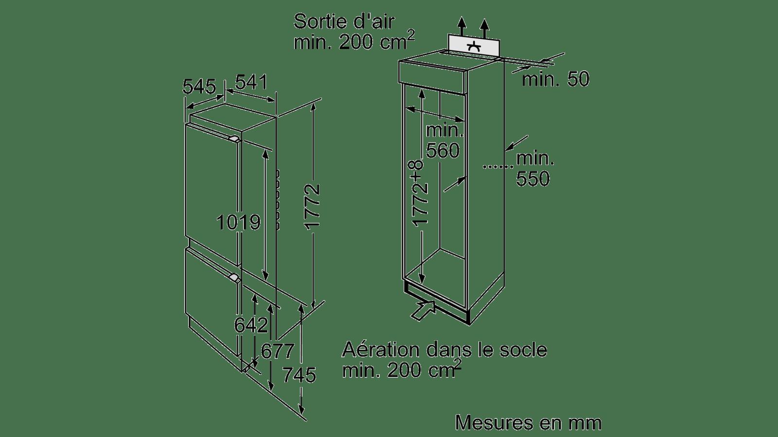 Dimension Frigo Encastrable Ikea iq100 réfrigérateur combiné intégrable 177.2 x 54.1 cm ki34vv21ff