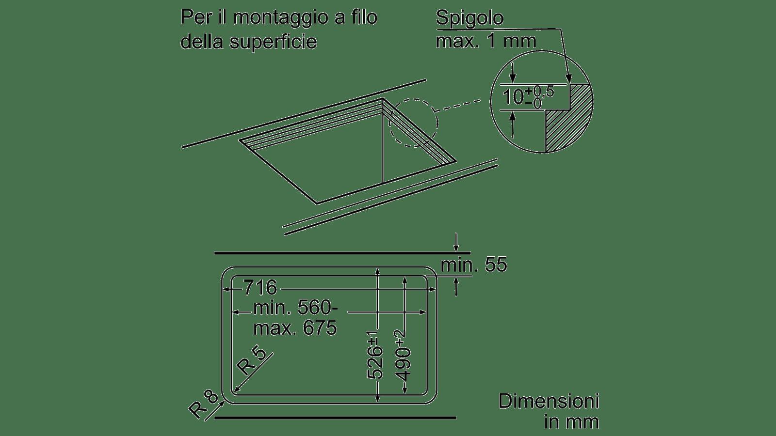 Neff dbm60a ventole blocco predefinito d5655x1 ARGENTO METALLIZZATO larghezza 50cm EEK C