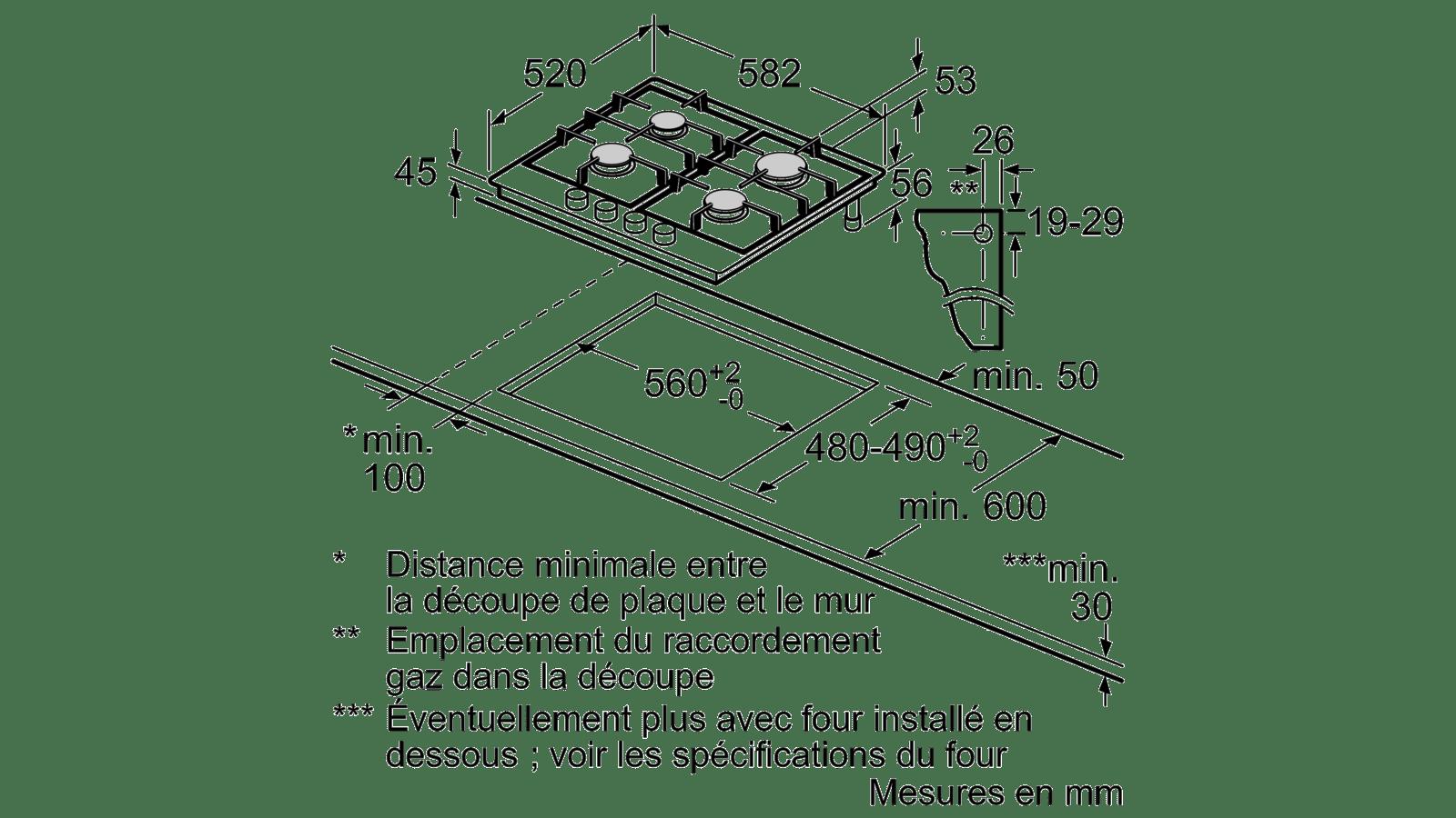 Demonter Plaque De Cuisson Electrique n 70 table gaz 60 cm acier inox t26ds49n0
