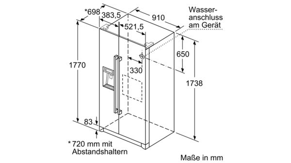 Nofrost Kühl Gefrierkombination Side By Side Türen Edelstahl