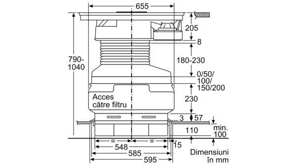 N 90 Plită pe inducție cu sistem de ventilare integrat 80 cm T58TS6BN0 T58TS6BN0-7