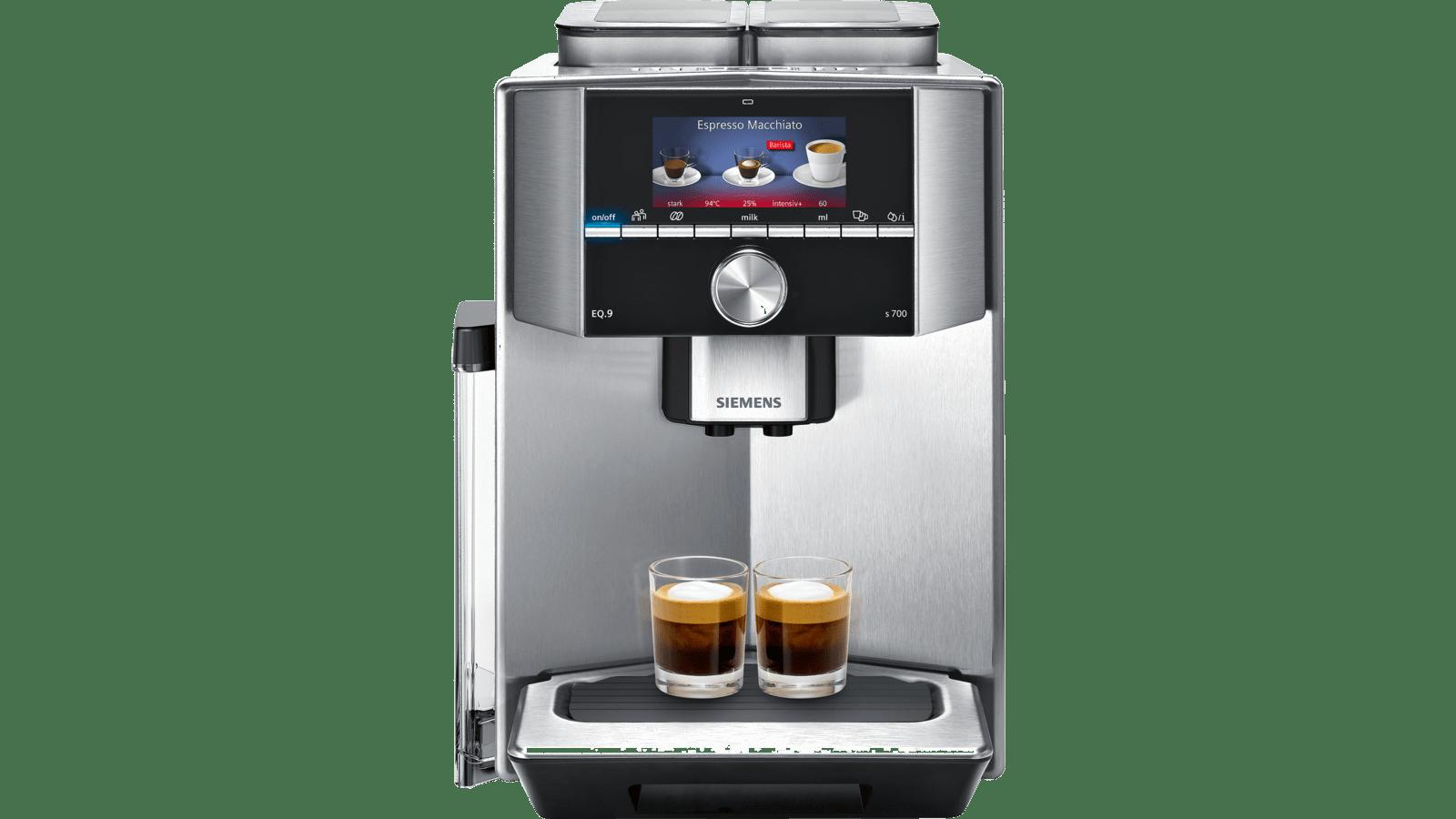 1500 Watt, maximales Aroma, 2 Bohnenbeh/älter, vollautomatische Dampfreinigung, Baristamodus, sehr leise, iAroma Siemens TI917531DE EQ.9 s700 Kaffeevollautomat edelstahl