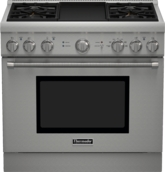 Professional Series 36 inch Dual-Fuel Standard-depth Range PRD364GDHC - Porcelain Rangetop