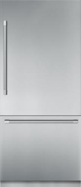 Réfrigérateur de 36 po à deux portes en acier inoxydable, préassemblé et encastrable, avec congélateur inférieur et poignée Professional T36BB920SS