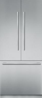 Réfrigérateur de 36 po à portes françaises en acier inoxydable, préassemblé et encastrable, avec congélateur inférieur et poignée MasterpieceMD T36BT910NS