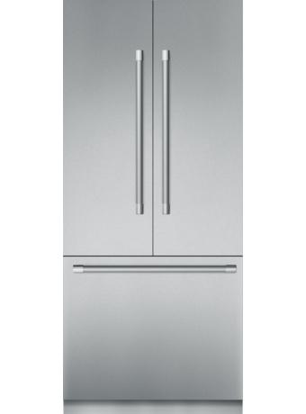 Réfrigérateur de 36 po à portes françaises en acier inoxydable, préassemblé et encastrable, avec congélateur inférieur et poignée Professional T36BT920NS