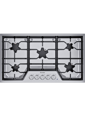 SGSX365TS ® offers an impressive 36-inch gas cooktop with 5 patented Star® burners, including a center-mounted power burner, 2 ExtraLow® Select simmer burners, and 58,200 BTUs of overall heat output. 36-Inch Masterpiece® Star® Burner Gas Cooktop, ExtraLow® Select
