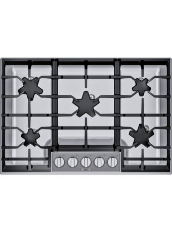 SGSXP305TS ® offers an impressive 30-inch gas cooktop with 5 raised pedestal Star® burners, including a center-mounted power burner, 2 ExtraLow® simmer burners, and 54,000 BTUs of overall heat output. 30-Inch Masterpiece® Pedestal Star® Burner Gas Cooktop, ExtraLow® Select