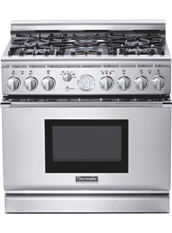 Série Professional Cuisinière mixte, profondeur standard, 36 po (91 cm) PRD366EG - Acier inox