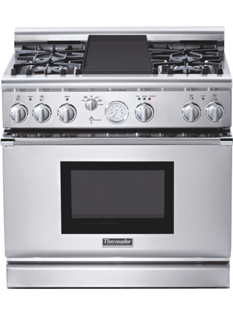 Professional Series 36 inch Gas Commercial-depth Range PRG364EDG - Stainless steel