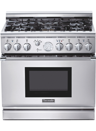 Professional Series 36 inch Gas Commercial-depth Range PRG366EPG - Porcelain Rangetop