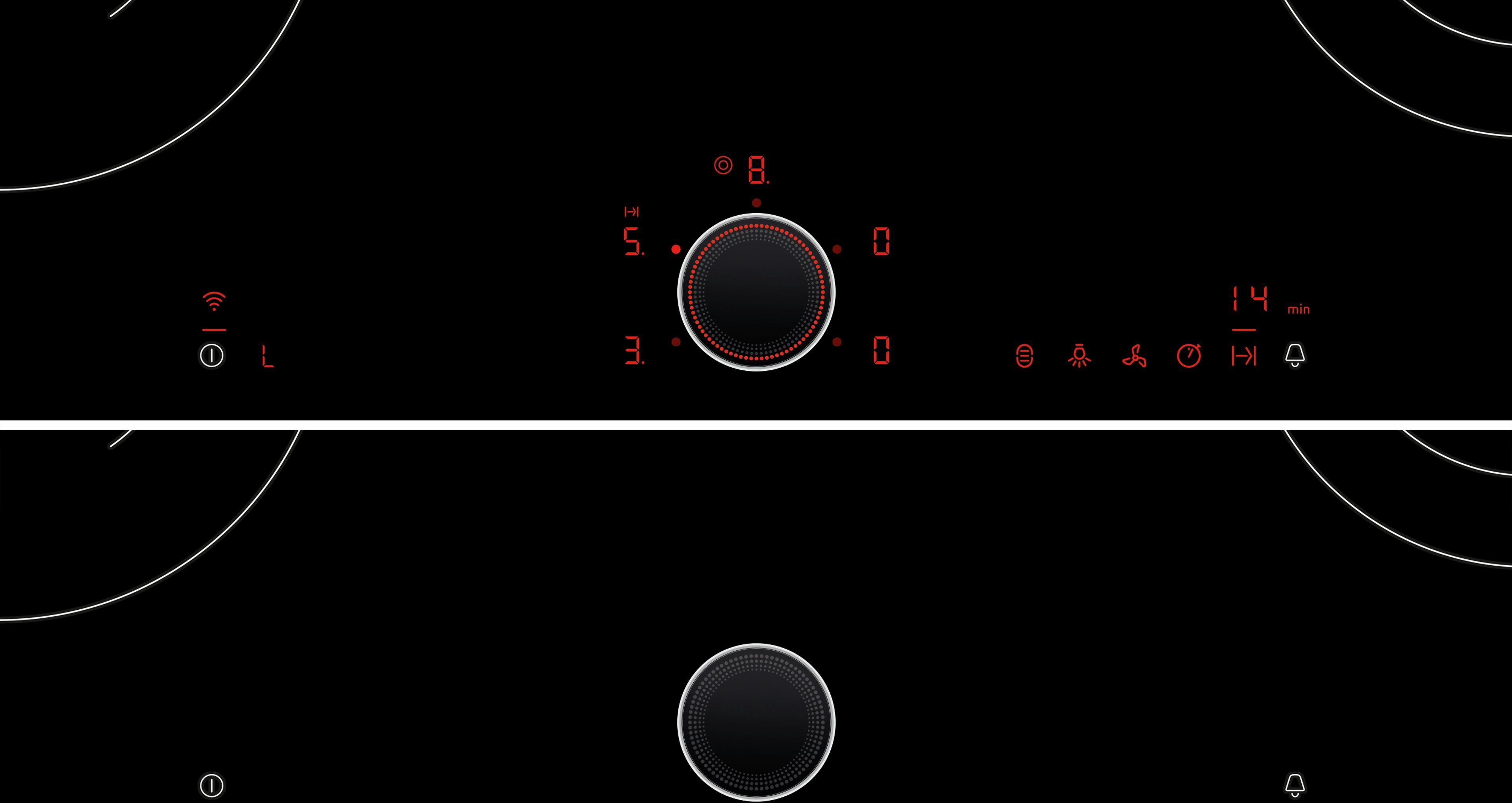 HighSpeed - vitrokeramisch - 80 cm 4 zones (2 dubbele- en 1 combi zone),  timer, TwistPad Fire, HoodControl