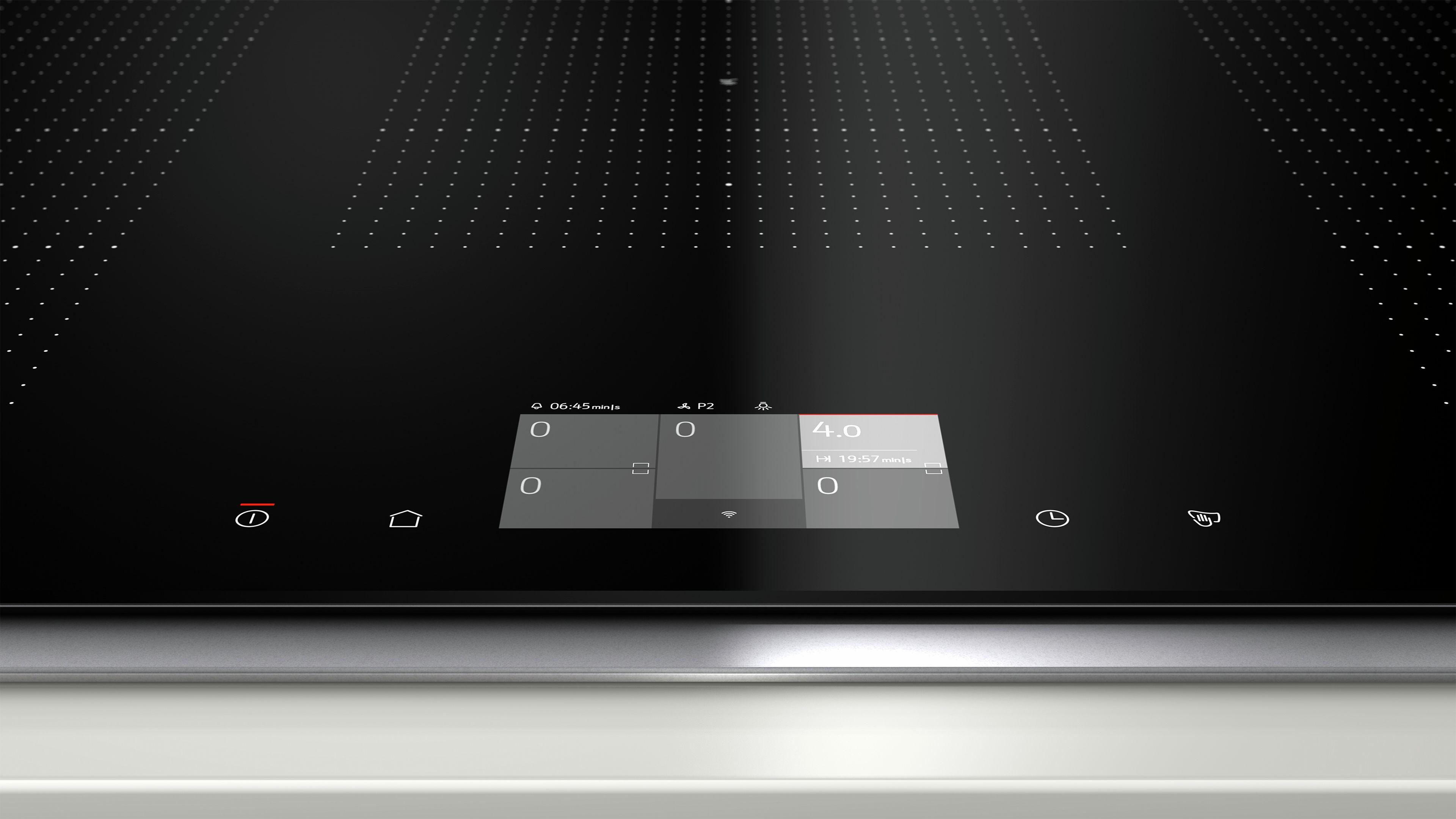 Inductie - vitrokeramisch - 90 cm FlexInductie, 5 kookzones (3 FlexInductiezones), TFT-Touchdisplay, FryingSensor, PowerMove, HoodControl
