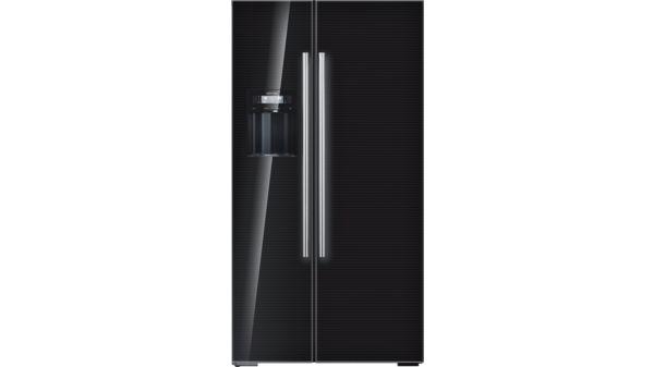 Amerikanischer Kühlschrank Schwarz : Kühl gefrier kombination side by side glastüren schwarz seiten